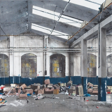 """OLD FACTORY FOUR - 2014 - cm. 100x100 III° Concorso di Pittura 2014 - Gruppo Artistico """"Il Sottoscala"""" di Chiuppano (VI). 28 settembre 2014 - 3° classificato"""