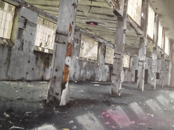 """""""Abandoned Factory"""" (particolare) - 2014 - cm. 120x120 - Fondo polimaterico e acrilico su tela."""